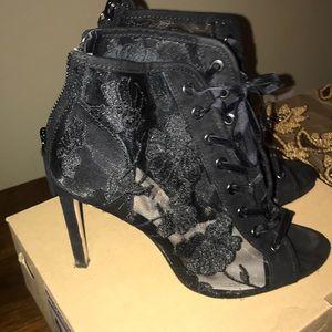Zara lace up peep toe boots.